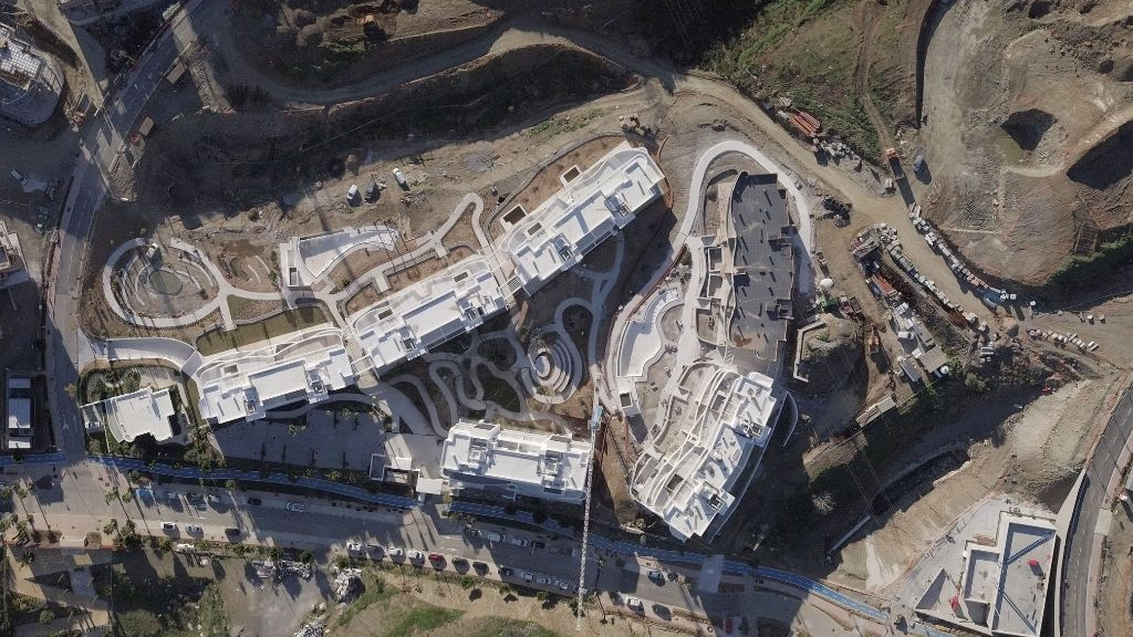 Phase I - 2020 02 - An aerial view of Phase I and communal areas progress